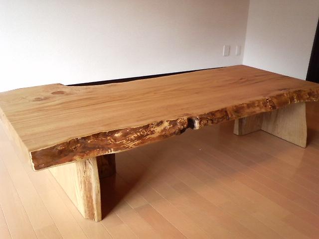 栗の一枚板座卓